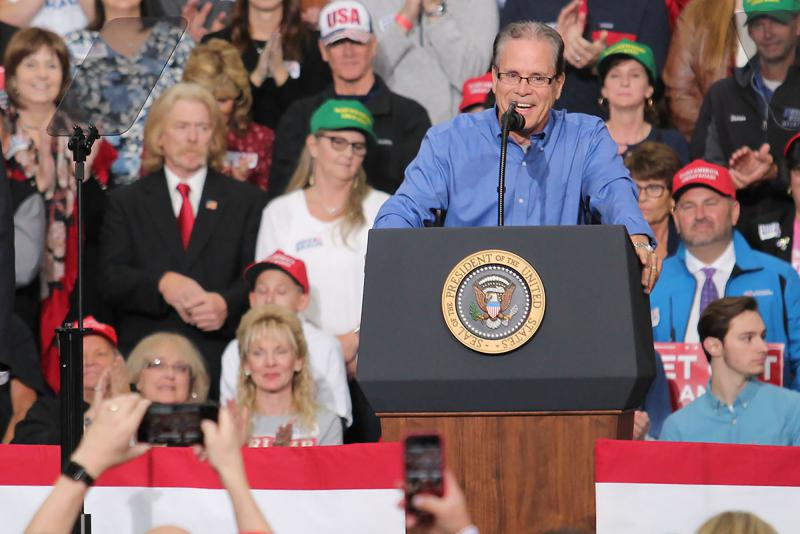 Mike Braun speaks at a rally in Indianapolis with President Donald Trump. (Lauren Chapman/IPB News)