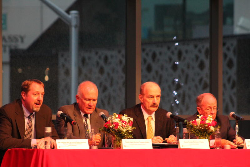 Indiana University Kelley School of Business economics professor Kyle Anderson, Indiana Business Research Center economist Timothy Slaper, and retired professors Charles Trzcinka and Bill Witte present the 2019 Economic Forecast (Samantha Horton/IPB News)
