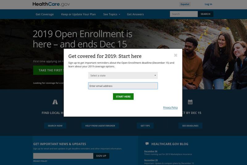 (Screenshot healthcare.gov)