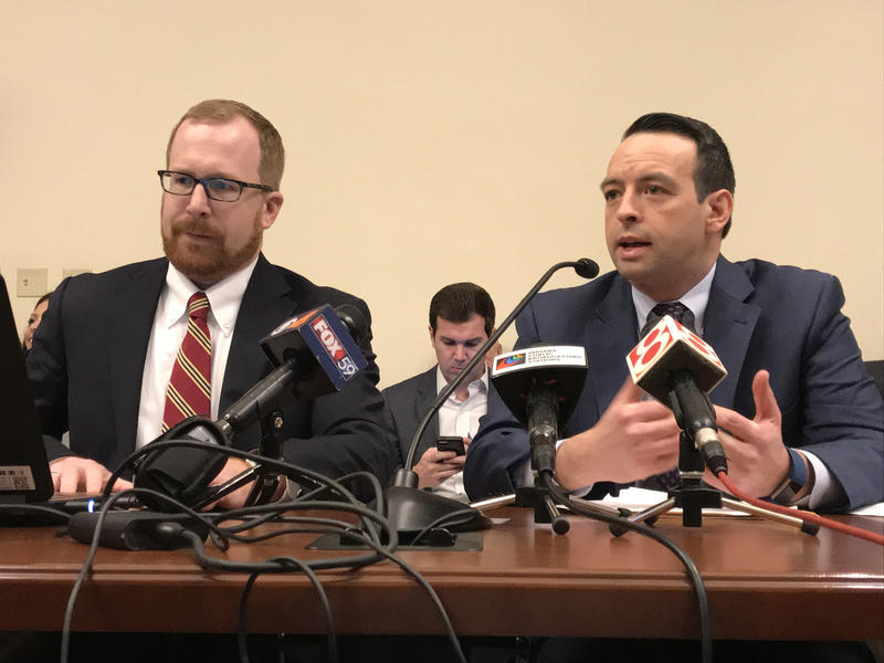 State Budget Director Jason Dudich, left, and Office of Management and Budget Director Micah Vincent, right, present Gov. Eric Holcomb's proposed budget. (Brandon Smith/IPB News)