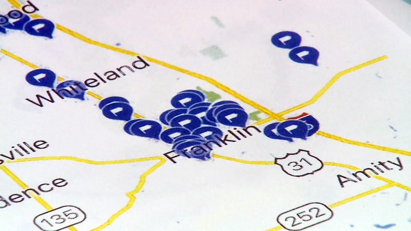 Concerned parents with the group If It Was Your Child pinpointed the places where each child has been diagnosed with cancer in Johnson County (Steve Burns/WTIU)