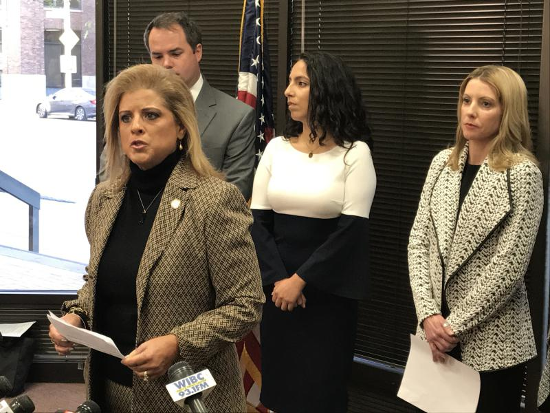 Rep. Mara Candelaria Reardon (D-Munster) speaks to reporters in October after a special prosecutor declined to bring charges against Attorney General Curtis Hill. (Brandon Smith/IPB News)