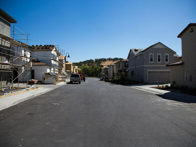 Construction goes on in a housing development in Folsom, Calif.