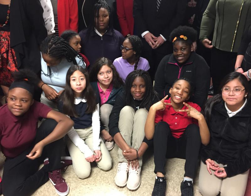 Fifth grade girls at Floro Torrence School in Indianapolis will participate in the pilot program. (Jill Sheridan/IPB News)
