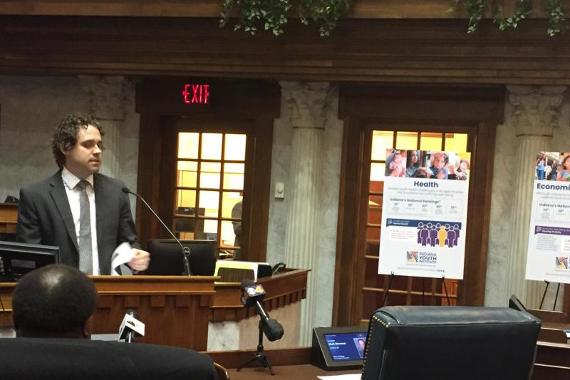 Indiana Youth Institute's Charlie Geier presents the annual Kids Count Data Book. (Jill Sheridan/IPB News)
