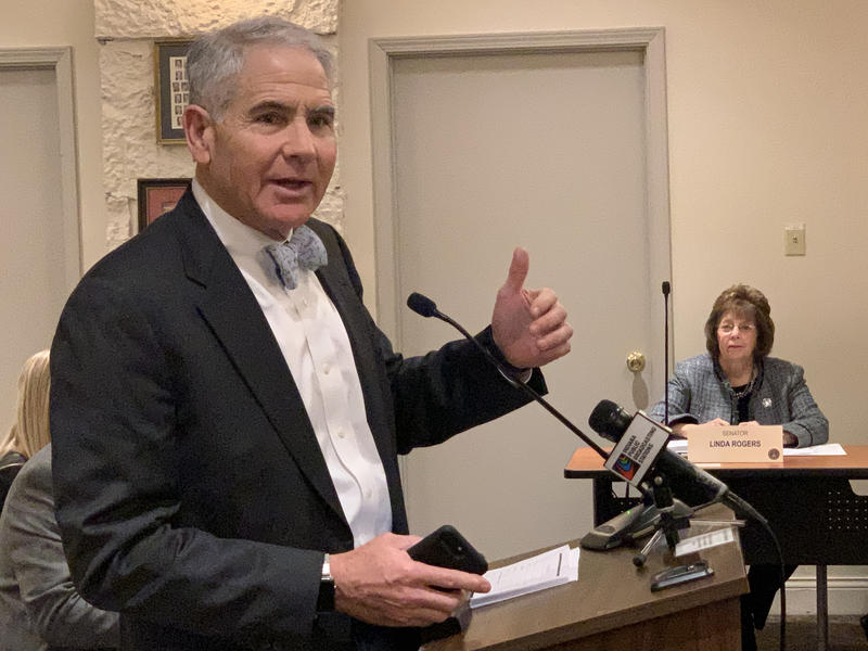 Indiana adoption attorney Steve Kirsh testifies before a Senate committee. (Brandon Smith/IPB News)