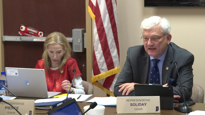 Rep. Ed Soliday (R-Valparaiso) (right) who authored the bill speaking about it in the House Utilities committee (Rebecca Thiele/IPB News)