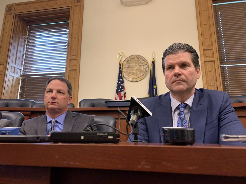 Rep. Todd Huston (R-Fishers) and Sen. Ryan Mishler (R-Bremen) discuss the new revenue forecast. (Brandon Smith/IPB News)