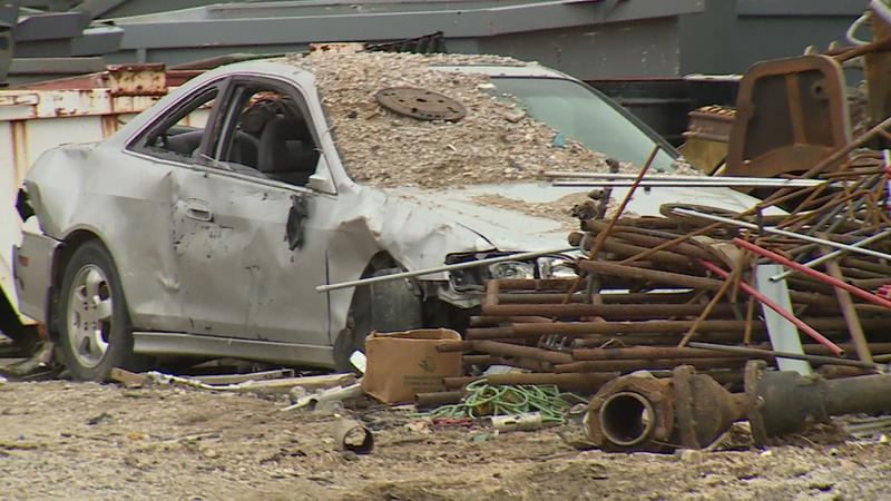 A car waits to be scrapped at J.B.'s Salvage on the northwest side of Bloomington (Steve Burns/WTIU)