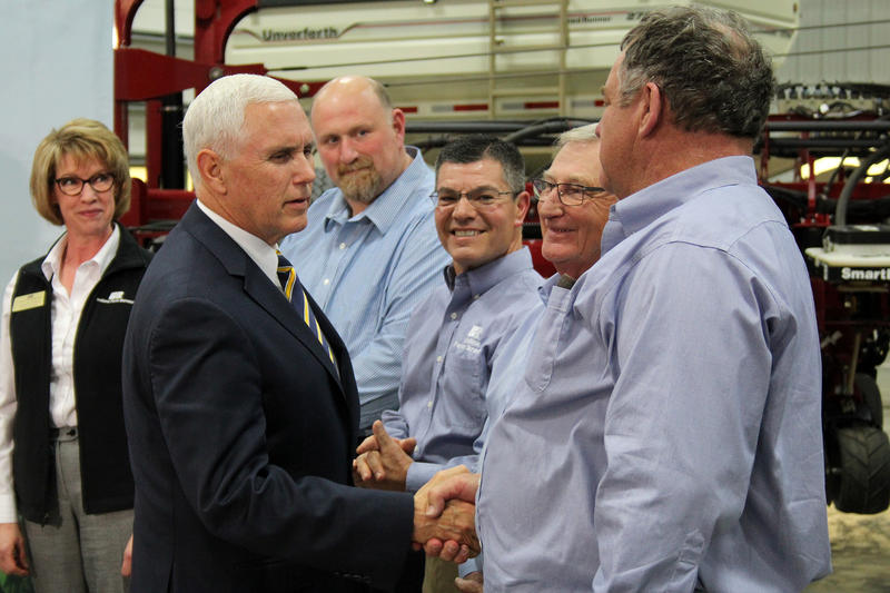 Vice President Mike Pence meets with Indiana farmers at Lamb Farms Thursday afternoon to discuss trade issues. (Samantha Horton/IPB News)