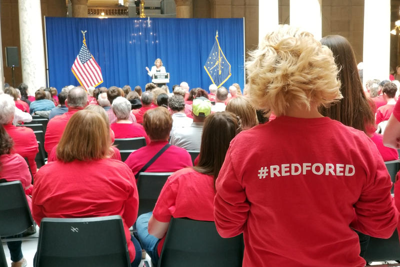 "Educators have used ""Red For Ed"" to bring more attention to issues facing public schools, like teacher pay and funding. (Jeanie Lindsay/IPB News)"