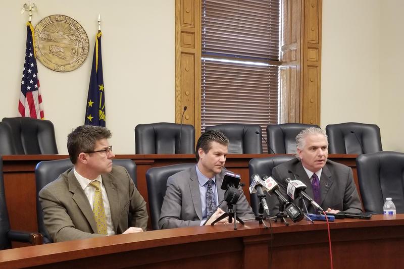 Sens. Rod Bray, Ryan Mishler and Eric Bassler announced the Senate GOP budget proposal Thursday. (Jeanie Lindsay/IPB News)