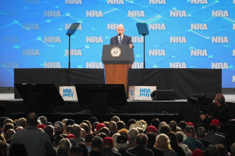 Vice President Mike Pence joined Trump at the NRA Institute for Legislative Action. (Lauren Chapman/IPB News)