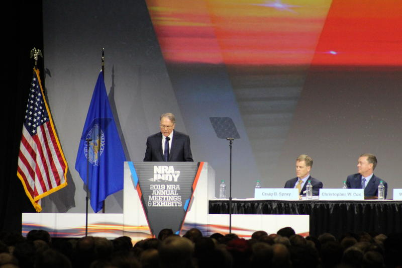 National Rifle Association's Chief Executive Officer Wayne LaPierre addresses the audience at the organization's Annual Meeting of Members. (Samantha Horton/IPB News)