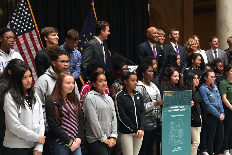 Dozens of Indiana students attended a substance abuse prevention summit at the Statehouse. (Jill Sheridan/IPB News)