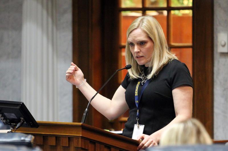 Sen. Erin Houchin on the Senate floor. (Lauren Chapman/IPB News)