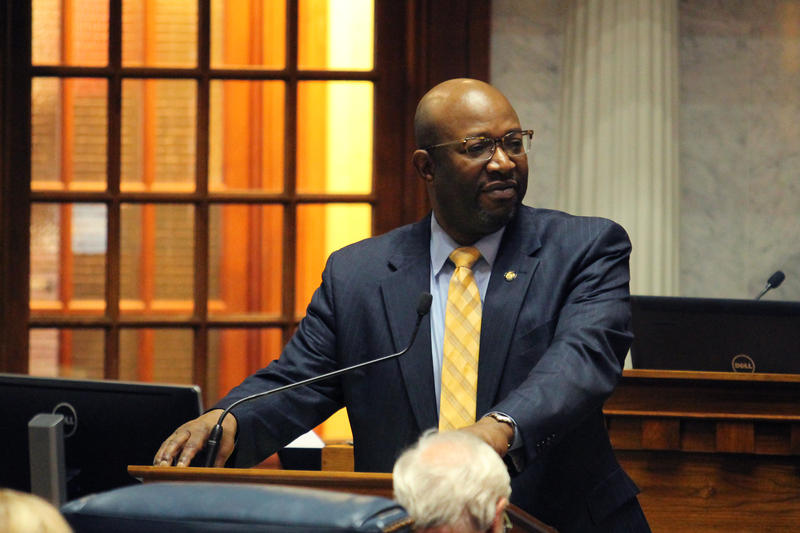 """Sen. Greg Taylor (D-Indianapolis), one of the bill's Senate sponsors, brought up his concerns about its definition of """"actually innocent."""" (Lauren Chapman/IPB News)"""