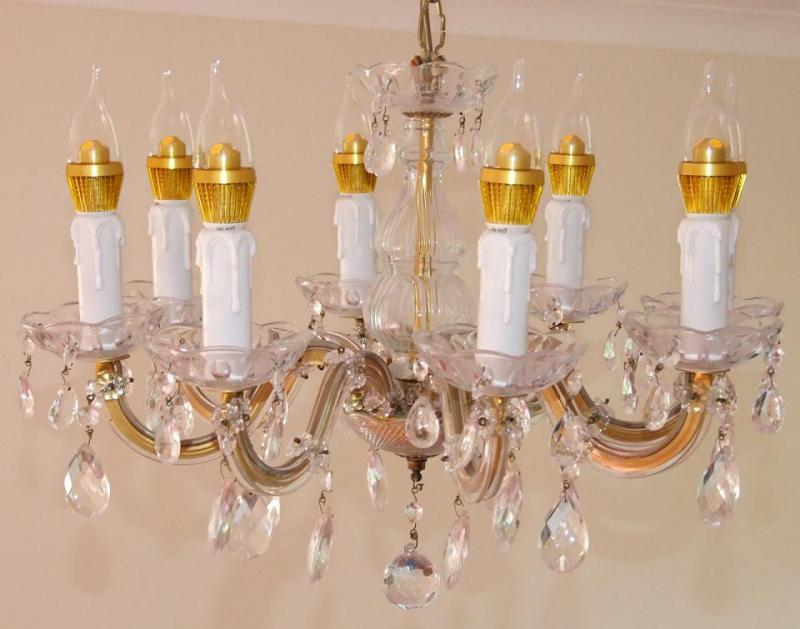 An antique chandelier that's been fitted with LED bulbs, 2012. Many of these specialty bulbs are not yet subject to energy efficiency standards. (Wikimedia Commons)