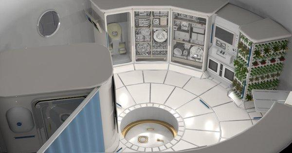 Illustration of the interior of a deep space habitat.  (Photo credit NASA)