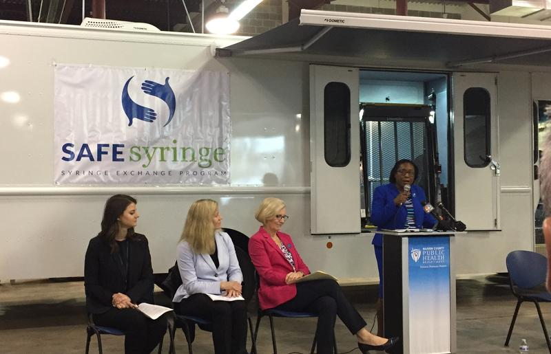 The new Marion County syringe exchange mobile unit is unveiled in Indianapolis. (Jill Sheridan/IPB News)