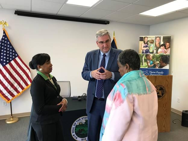 The bill signing took place at the Goodwill Nurse-Family Partnership in Merrillville. (Photo courtesy of Indiana Governor's Office)
