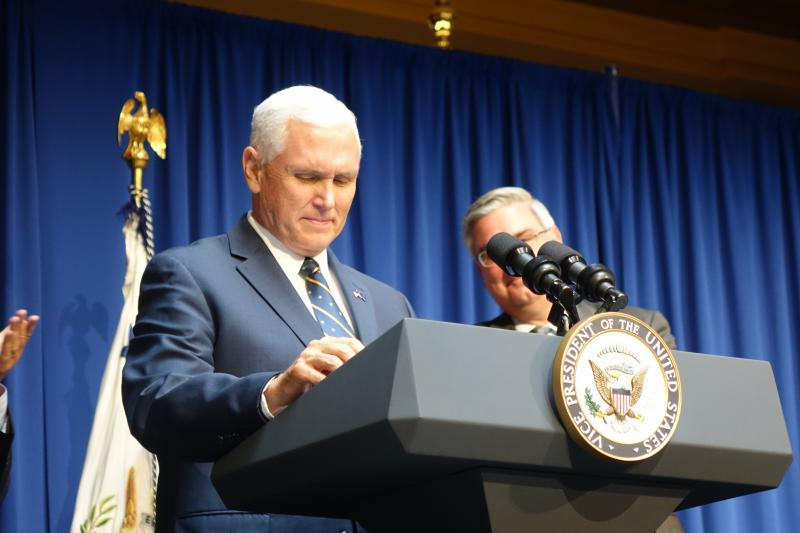 Vice President Mike Pence, at his White House portrait unveiling August 2017, will be Taylor University's commencement speaker. (FILE PHOTO: Lauren Chapman/IPB News)