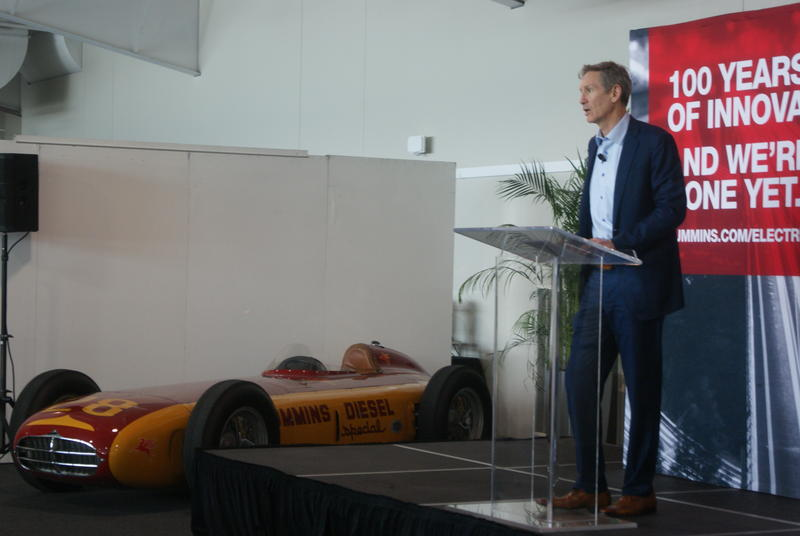 Cummins Inc. Chairman and CEO Tom Linebarger announces the company's new investments in Indiana. (Samantha Horton/IPB News)