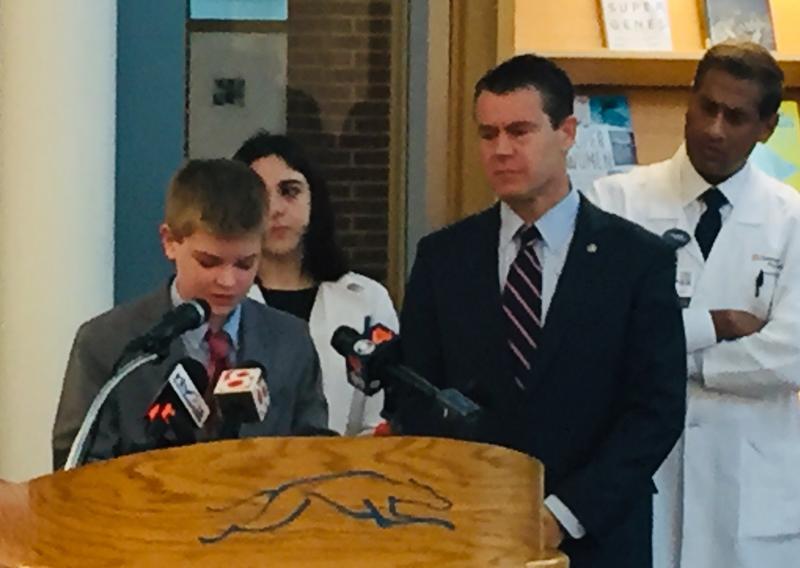 Students joined U.S. Sen. Todd Young (R-Ind.) at Carmel High School. (Jill Sheridan/IPB News)