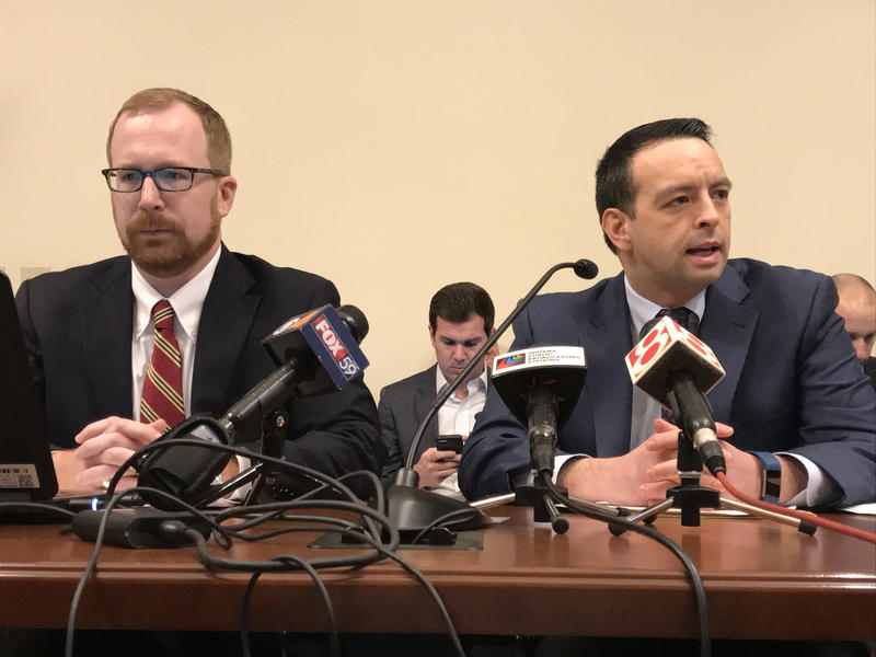 State Budget Director Jason Dudich, left, and Office of Management and Budget Director Micah Vincent, right, are both departing the Holcomb administration. (Brandon Smith/IPB News)