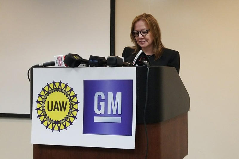 General Motors CEO Mary Barra announces the company's increased investment in the Fort Wayne Assembly Plant. (Samantha Horton/IPB News)