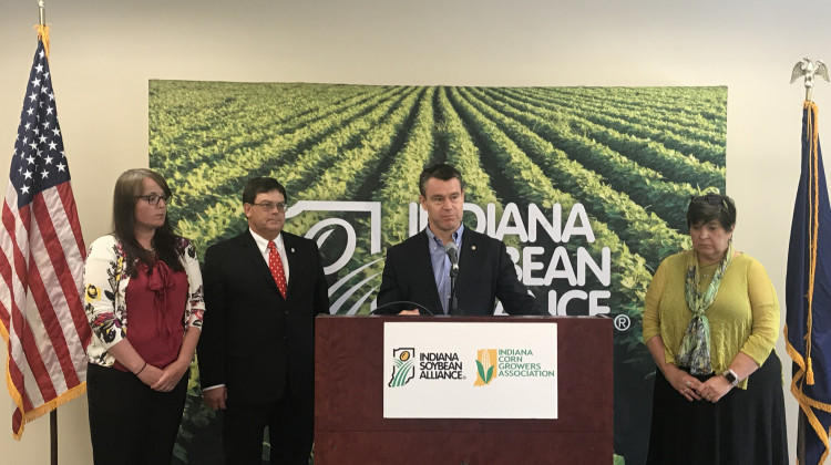 From left to right: Sarah Delbecq, president of the Indiana Corn Growers Association; Phil Ramsey, chairman of the Soybean Membership and Policy Committee; Sen. Todd Young; and Jane Ade Stevens, CEO of the Indiana Corn Marketing Council.