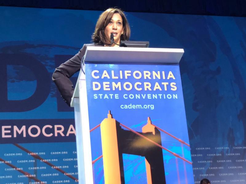 Sen. Kamala Harris at the 2019 California Democratic Convention in San Francisco.