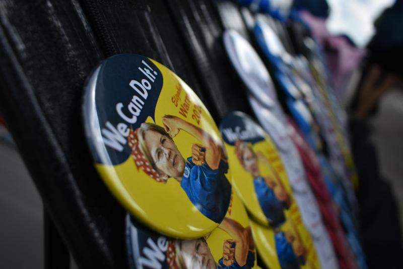 Buttons from Warren's campaign. (Justin Hicks/IPB News)
