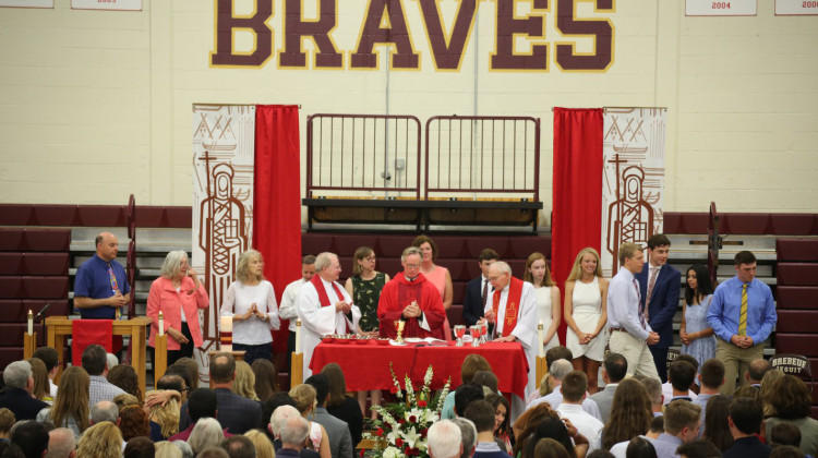 A May 2018 mass at Brebeuf Jesuit Preparatory School in Indianapolis.