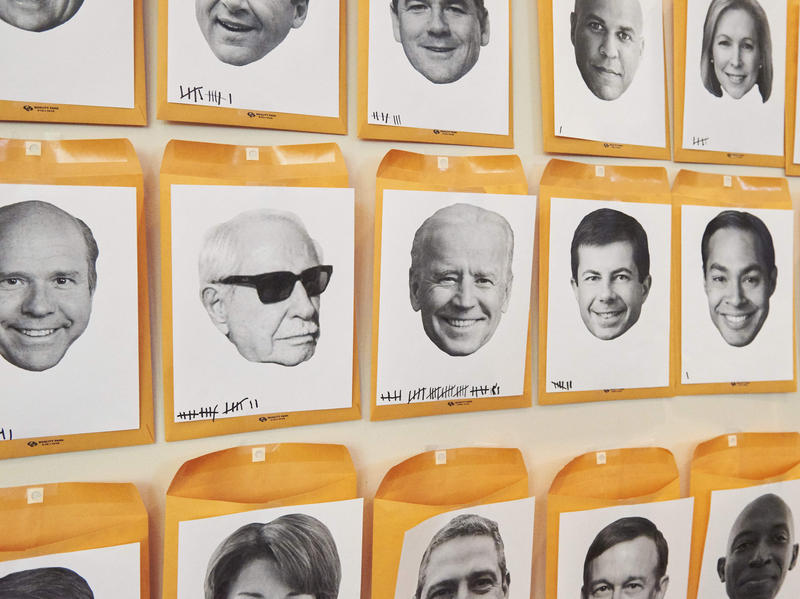 "A wall titled, ""Who's The Next To Drop Out?"" with faces of the democratic candidates running for president in the 2020 Election on display during the Netroots Nation conference at the Pennsylvania Convention Center in Philadelphia, PA on July 13, 2019."