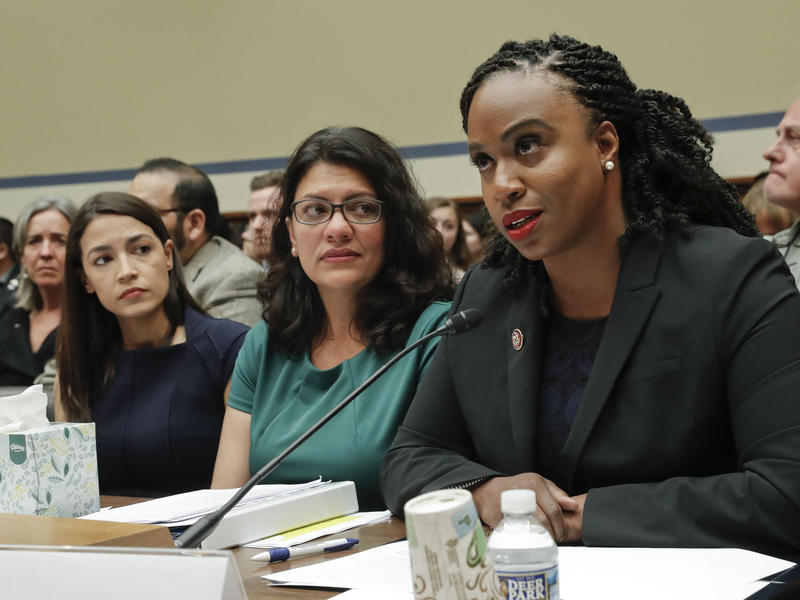 Reps. Alexandria Ocasio-Cortez, Rashida Tlaib, and Ayanna Pressley, three of the four Congresswomen President Trump has attacked on twitter, during a House hearing last week.