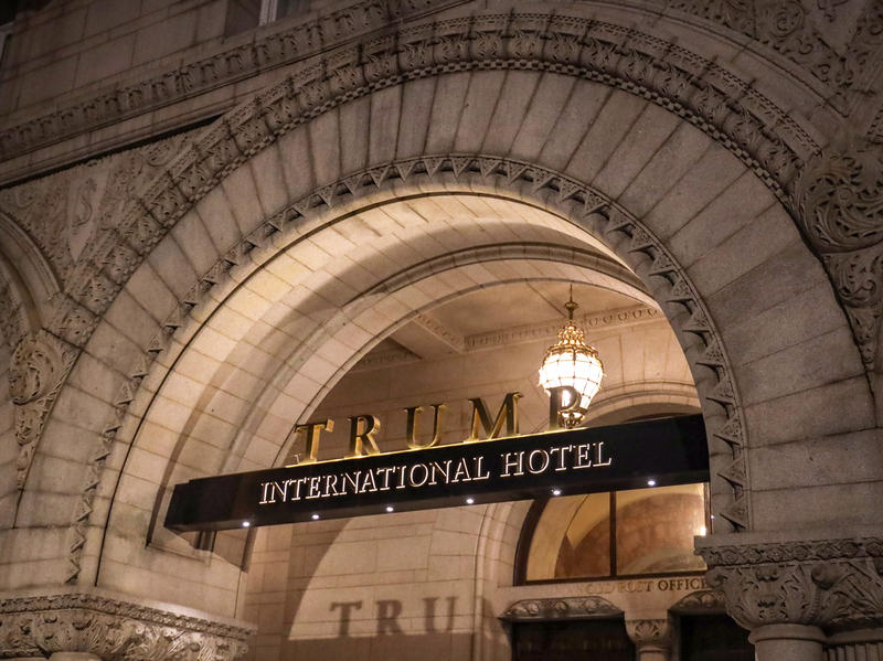 A three-judge panel ordered the dismissal of a lawsuit that argued President Trump was violating the emoluments clauses of the Constitution through his business empire. The Trump International Hotel in Washington, D.C., is seen here in March.