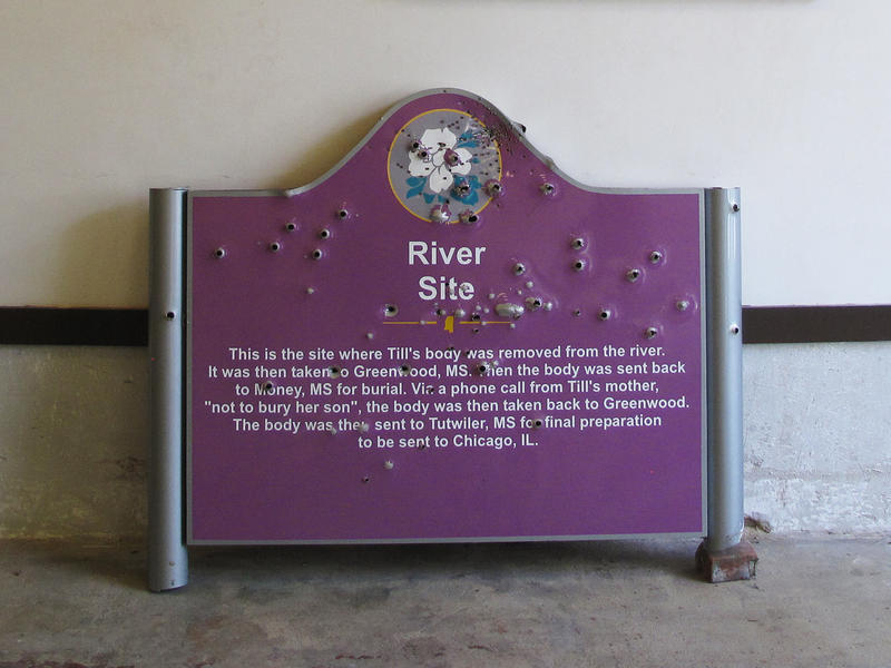 A bullet-riddled sign that once marked where Emmett Till's body was pulled from the Tallahatchie River is now housed at the Till Interpretive Center in Sumner, Miss.  The historic marker was taken down after three white fraternity brothers from the Univer