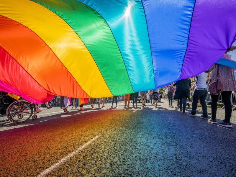 People celebrating Gay Pride in Reykjavik, Iceland.