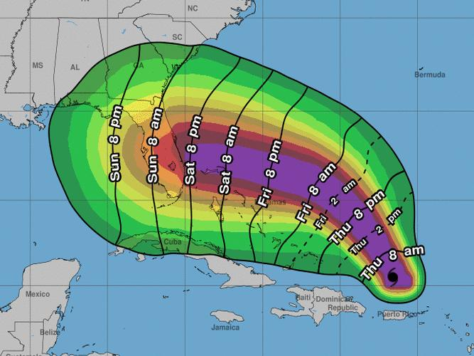 Hurricane Dorian could bring tropical-storm-force winds to the Florida coast as early as Saturday evening, the National Hurricane Center says.