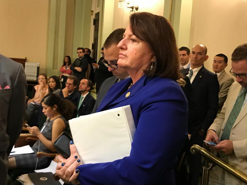 Sen. Toni Atkins watches the SB 1 debate on the Assembly floor.