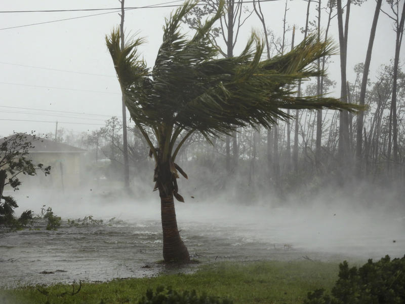 A road is flooded during the passing of Hurricane Dorian in Freeport, Grand Bahama, Bahamas, on Monday.