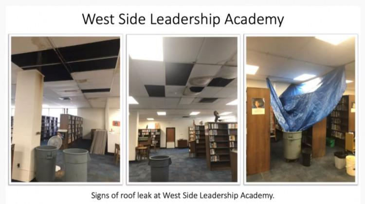 Photo of a leaking roof inside the Westside Leadership Academy in Gary displayed Wednesday, Oct. 2, 2019, at the State Board of Education meeting.