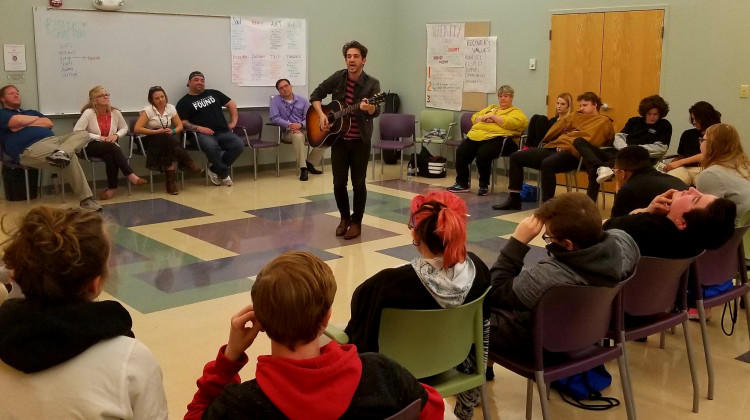 Musician Matt Butler visited Hope Academy in May 2019 to play songs and talk about his own recovery.