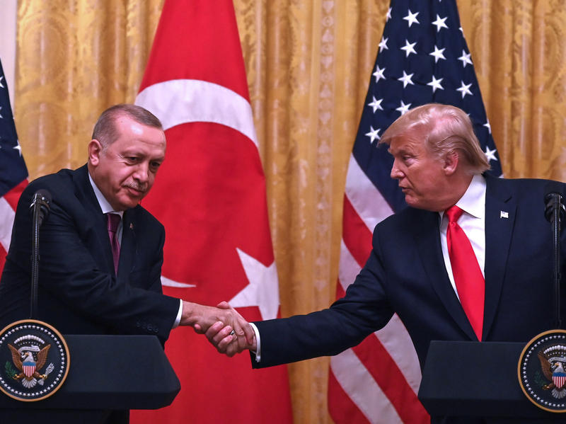 President Trump and Turkey's President Recep Tayyip Erdogan (left) take part in a joint press conference during Erdogan's visit to the White House on Wednesday.