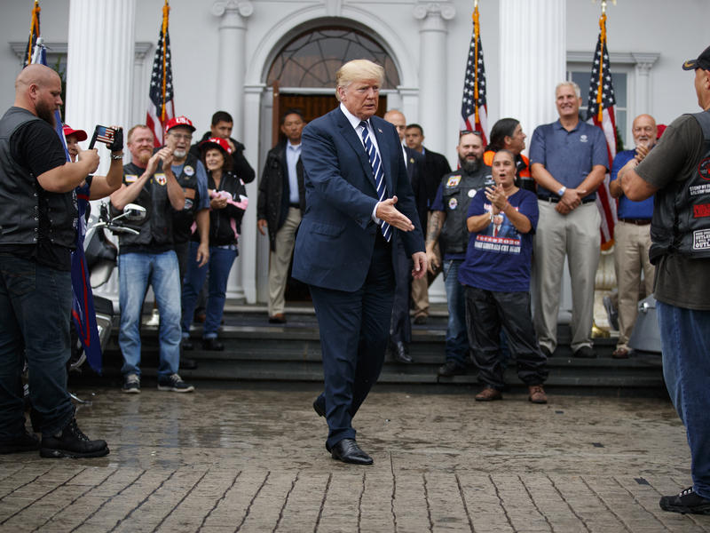 President Trump greets members of Bikers for Trump and supporters in August 2018 at the Trump National Golf Club in Bedminster, N.J. The House Ways and Means Committee has subpoenaed, among other tax records, those related to his Bedminster club.