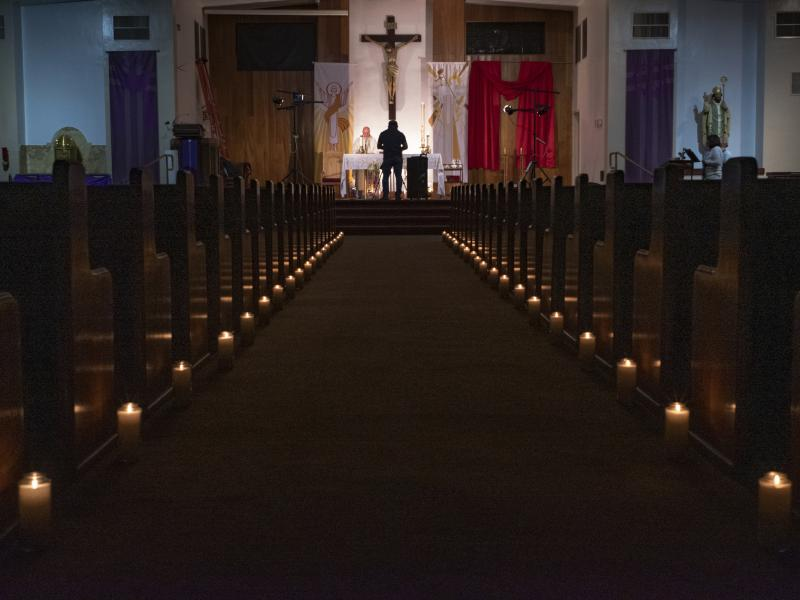 A church in North Hollywood, Calif., stands empty last month after services were canceled because of coronavirus restrictions.
