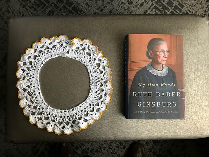 Supreme Court Justice Ruth Bader Ginsburg donated one of her lace collars and a copy of the book My Own Words to the Museum of the Jewish People in Tel Aviv.