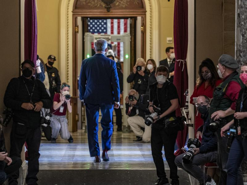 Republican Rep. John Katko, who voted in favor of impeachment, walks back to the House chamber at the U.S. Capitol on Wednesday.