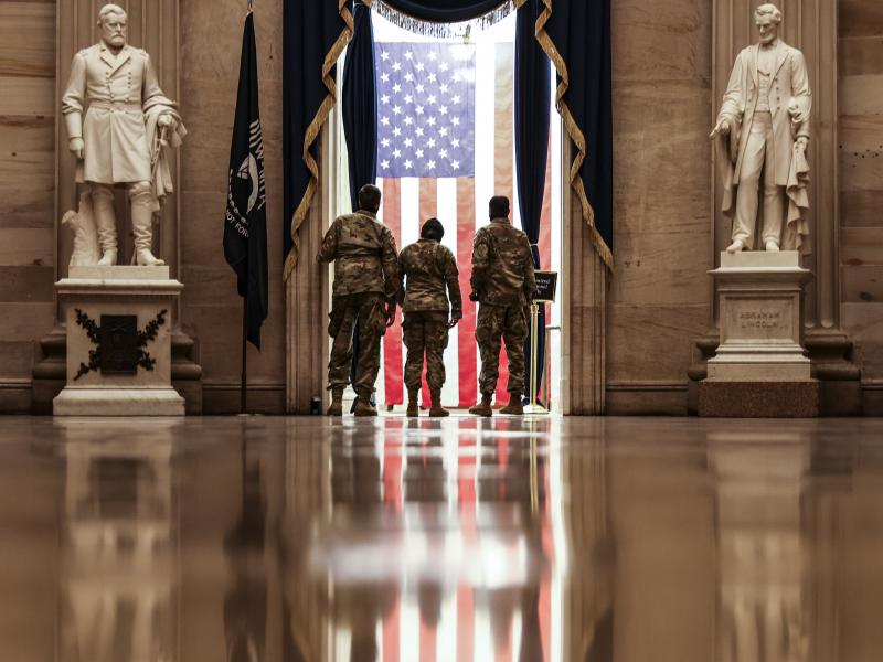Members of the U.S. National Guard from Delaware in the Capitol Rotunda Wednesday.